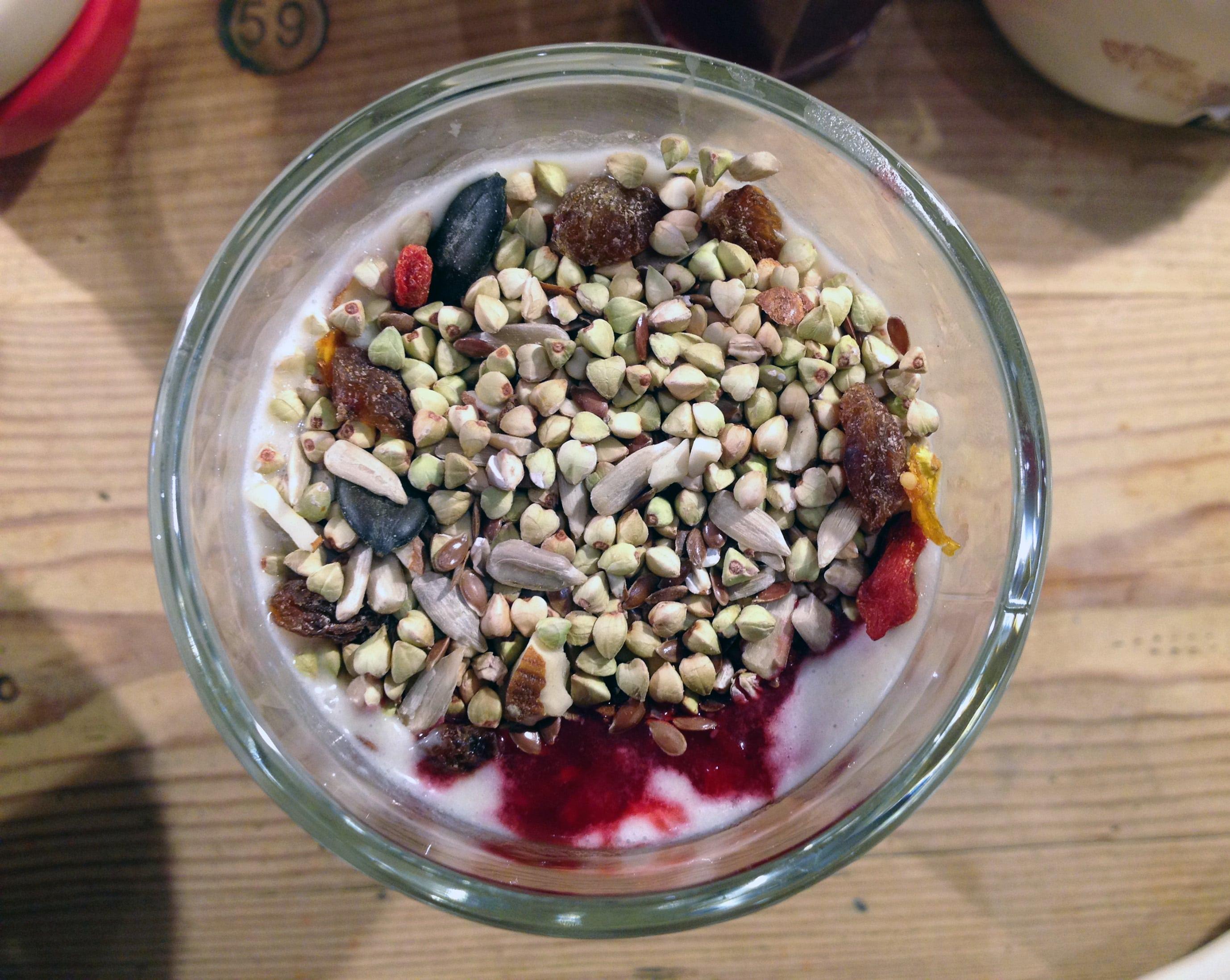 Gluten free granola with yogurt and fresh fruit