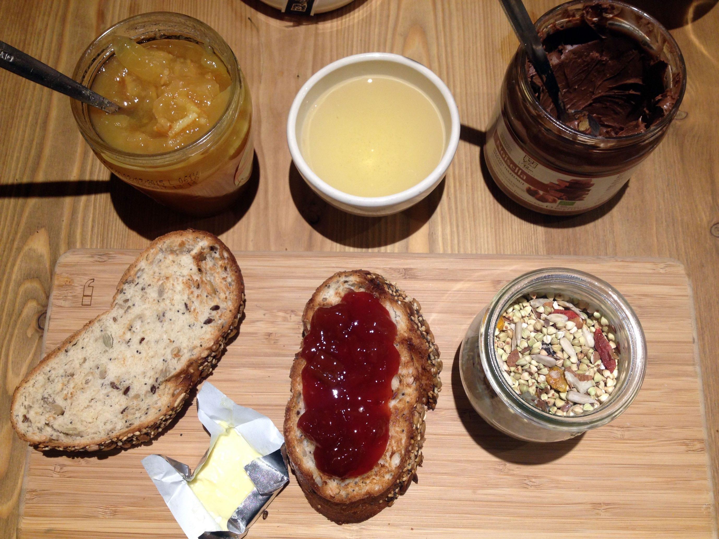 Gluten free granola with yogurt and fresh fruit.
