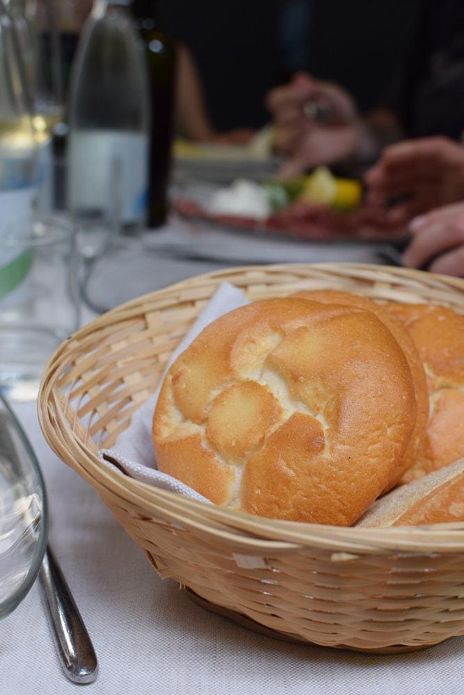 Great fresh bread at Il Padellino restaurant in Turin