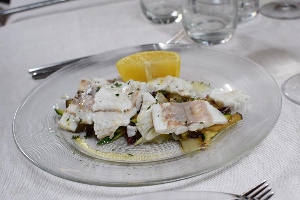 Delicious and gluten free fish salad at Il Padellino restaurant in Turin