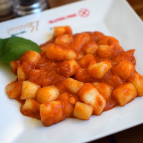 gluten free gnocchi with tomato sauce and fresh basil at Officina 37 Milan