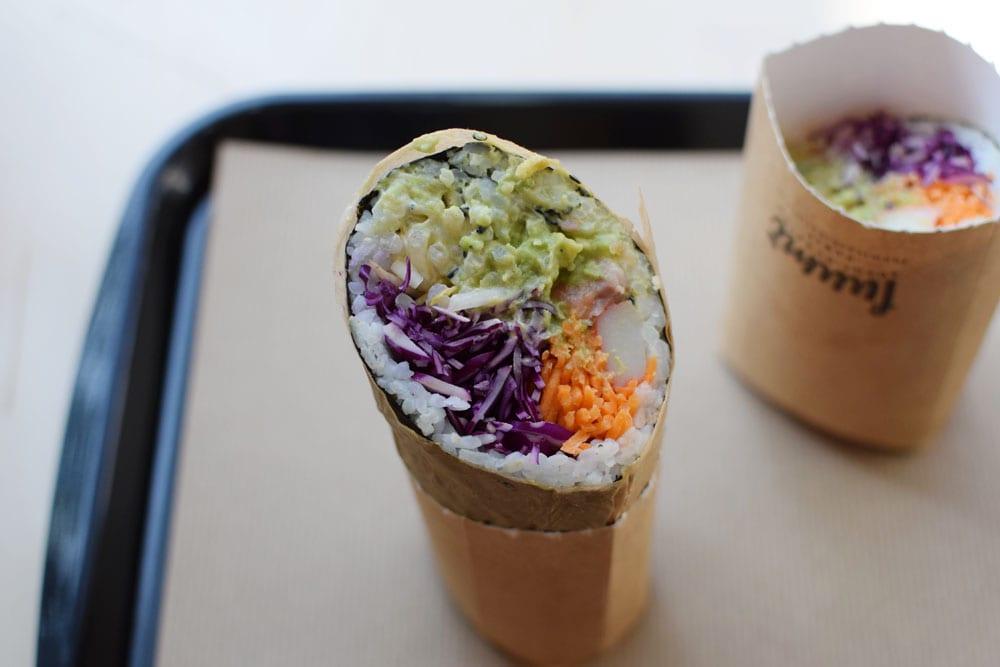 Delicious gluten free sushi burrito: fresh, crunchy, healthy, and very tasty