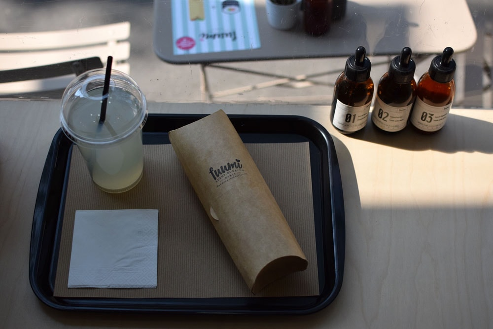 A large glass of homemade lemonade at gluten free Fuumi in Paris