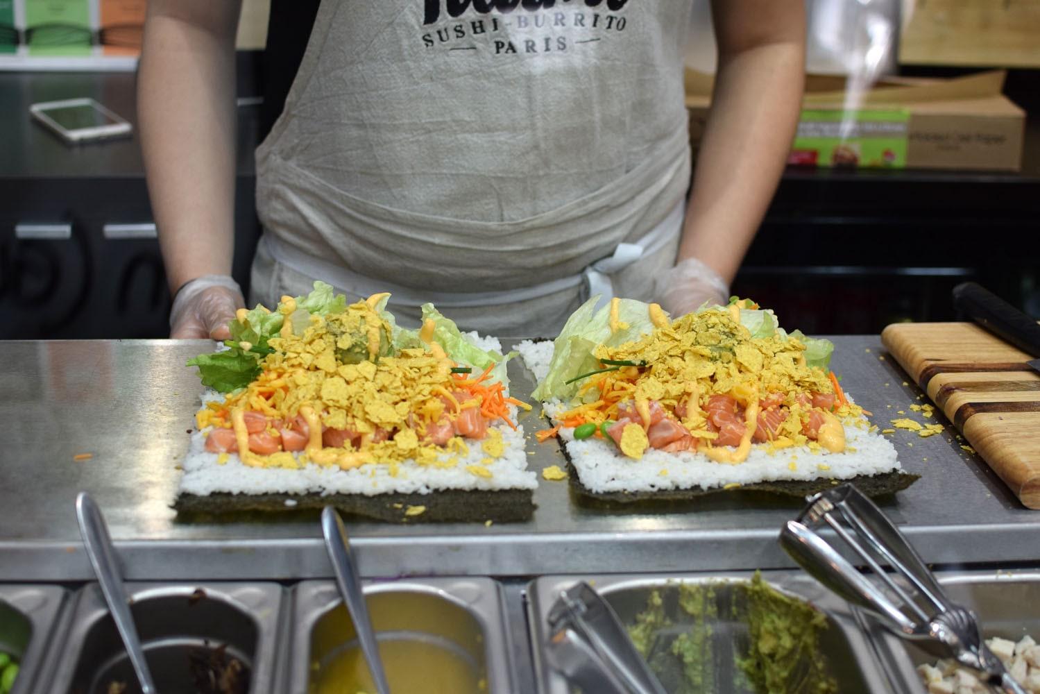 Delicious gluten free sushi burrito at Fuumi in Paris