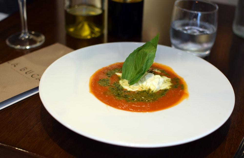 gluten free carpaccio at la buca restaurant in paris