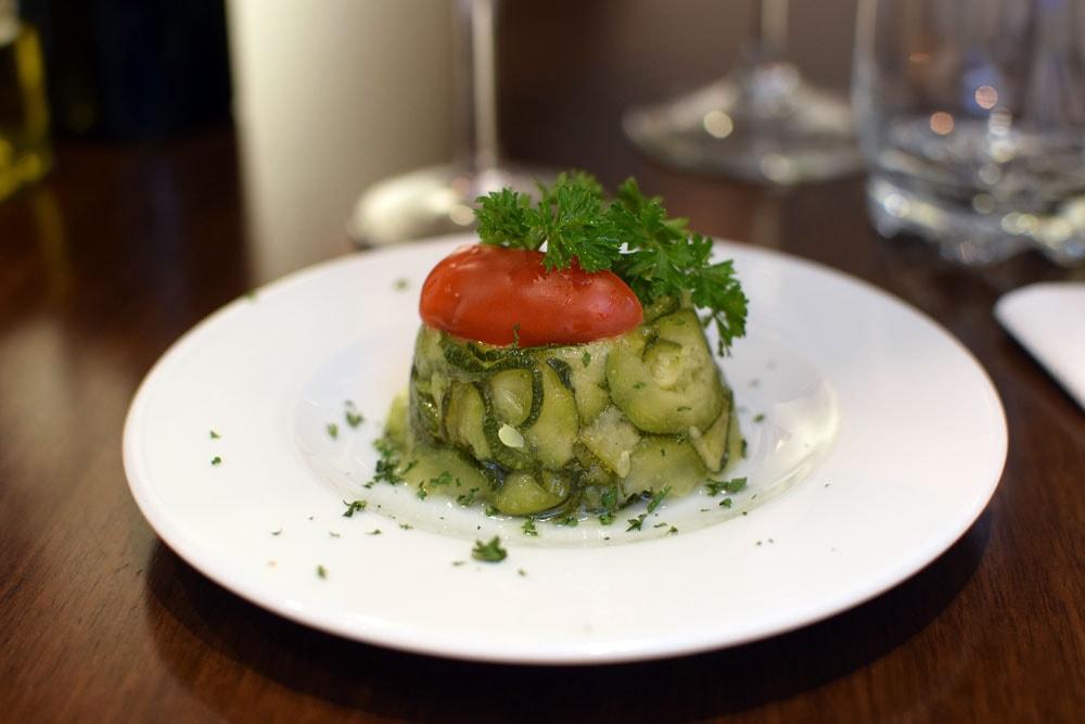 """Gluten-Free antipasti: """"terrine"""" of marinated zucchini and tomatoes"""