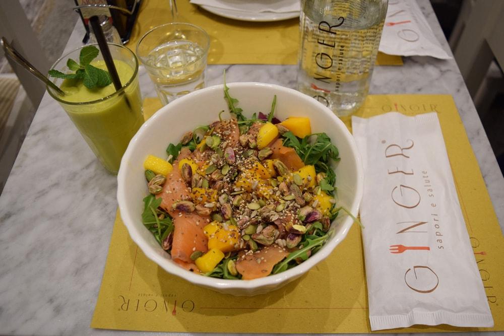 ginger café gluten free salad in rome