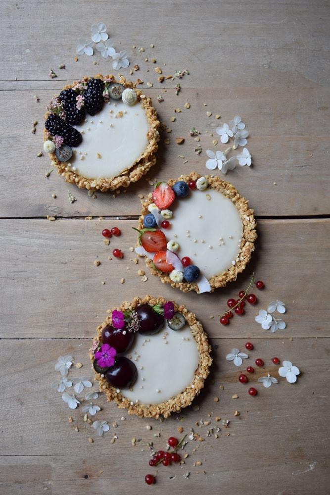 gluten free vegan granola coconut tarts