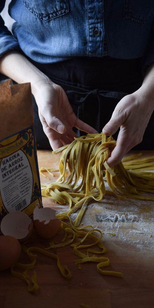 gluten free tagliatelle with turmeric