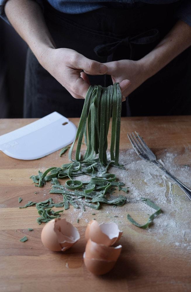 recipe for gluten free tagliatelle with spirulina