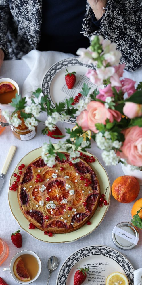 gluten free sourdough cake with blood oranges