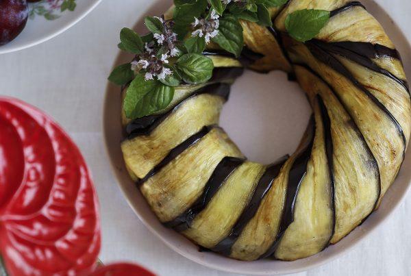 sformato of eggplant with gluten free pasta alla norma