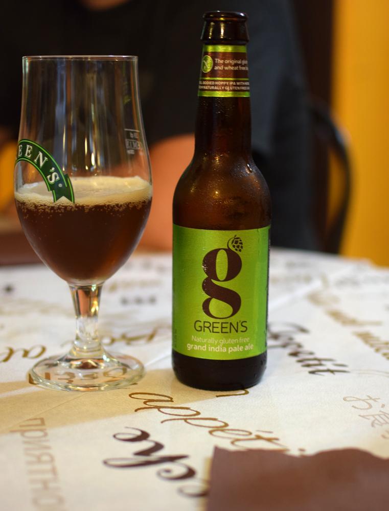 Bière Greens sans gluten avec sorgo, trop bonne!