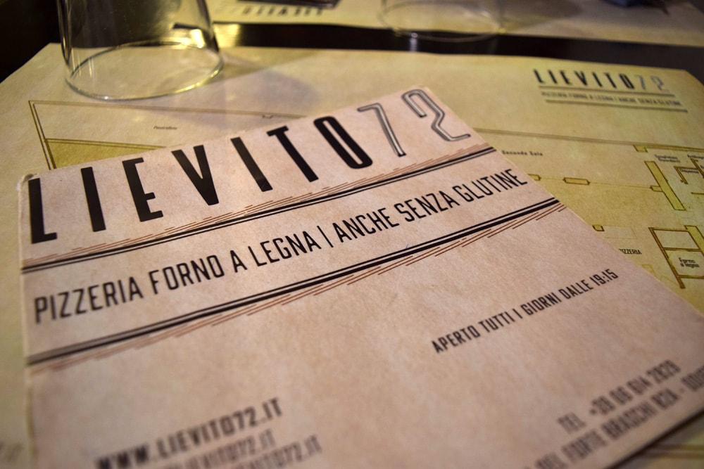 lievito 72 menu sans gluten avec pizza