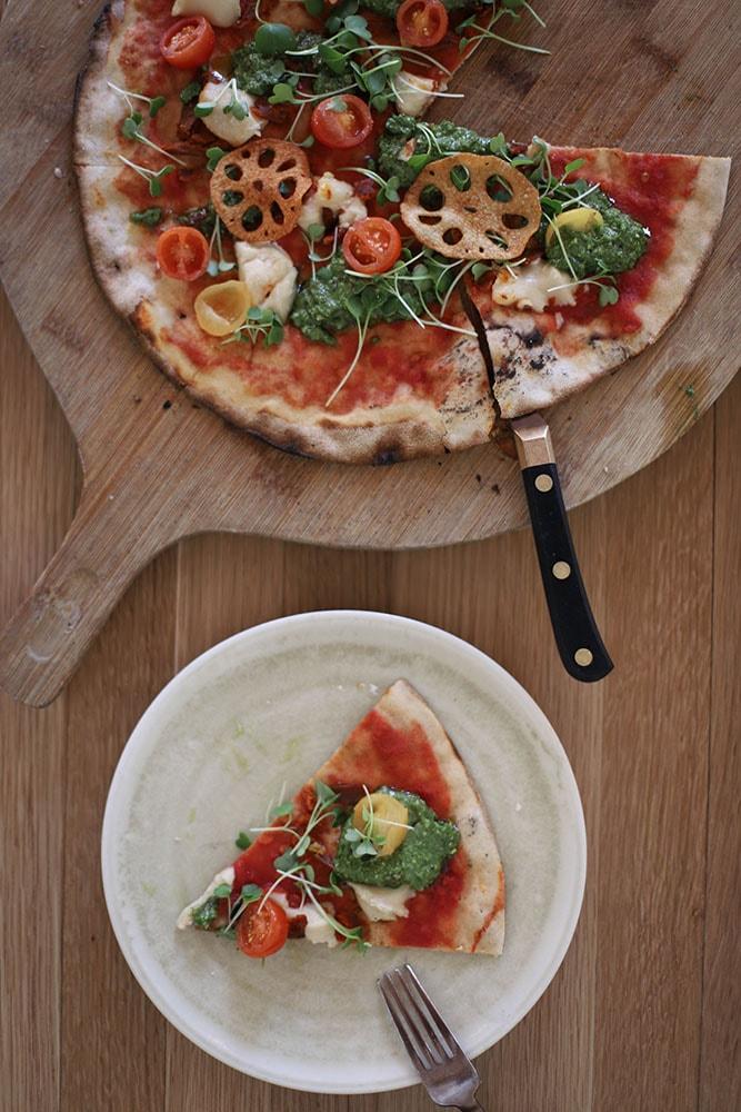 the green spot vegan pizza